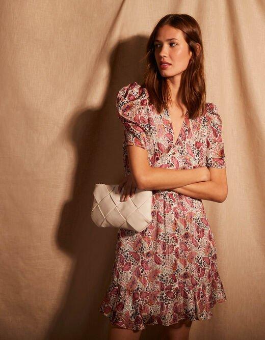 A-line dress with paisley print pink ladies'