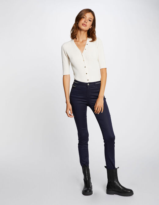Slim trousers with wet effect navy ladies'