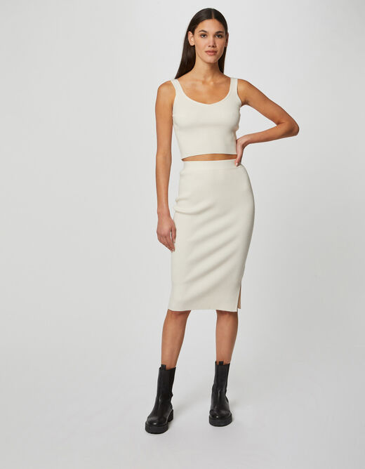 Fitted jumper skirt with ribbed knit ivory ladies'