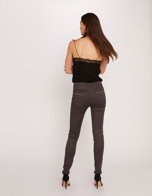 Standard waisted skinny trousers anthracite grey ladies'