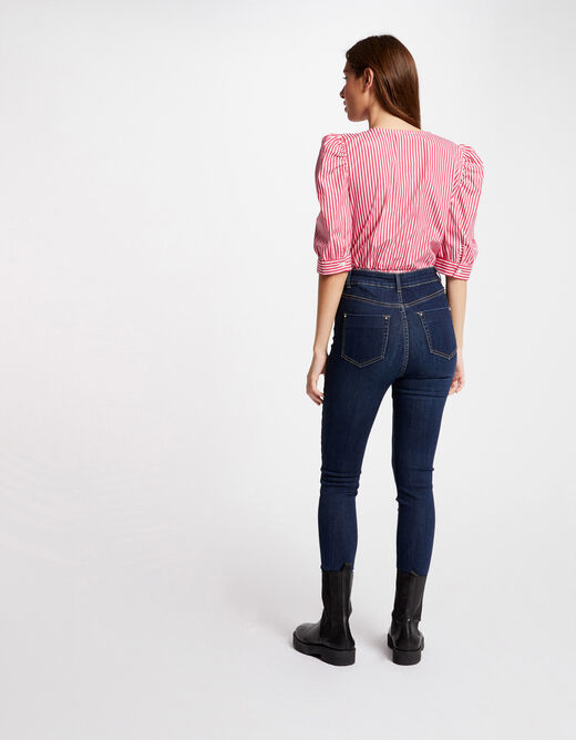 Short-sleeved blouse with stripes pink ladies'