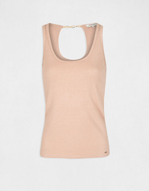 Vest top with wide straps and open back pale pink ladies'