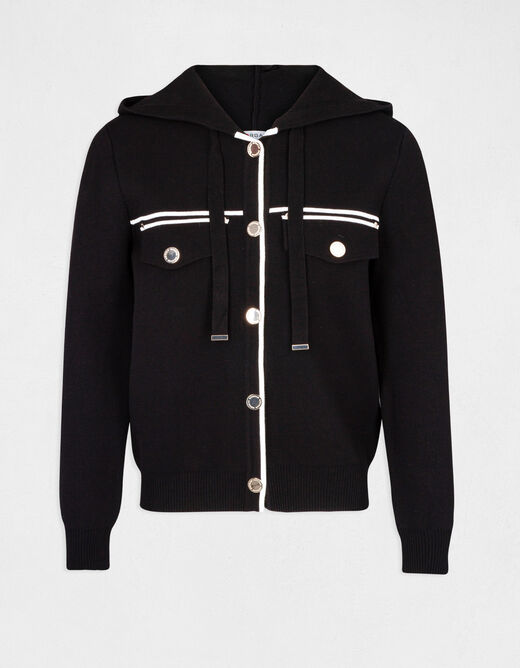 Buttoned cardigan with hood black ladies'