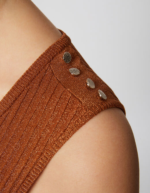 Sleeveless jumper buttons on shoulders rust ladies'