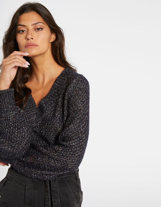 Jumper with puff long sleeves mid-grey ladies'