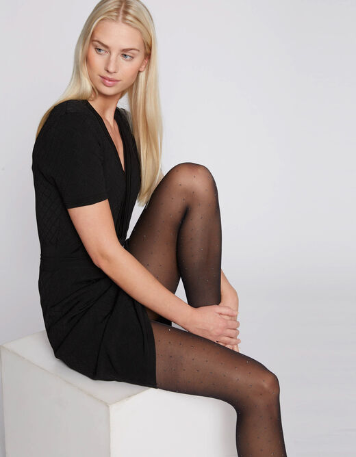 Tights with abstract print black ladies'