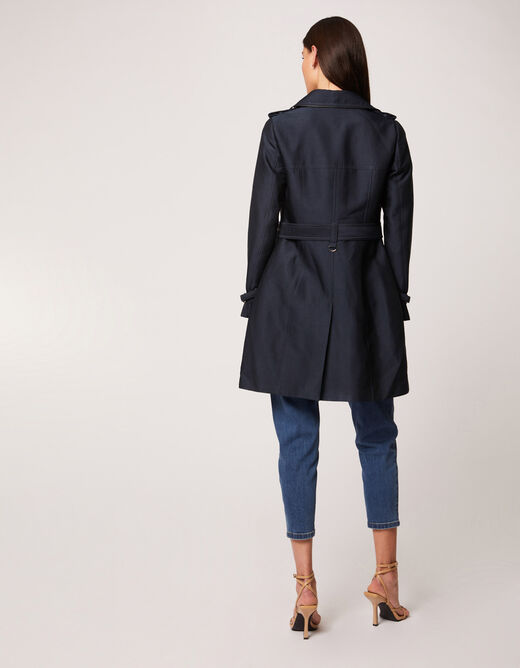 Straight buttoned and belted trenchcoat navy ladies'