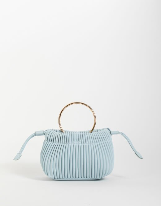 Pleated bucket bag with chain strap sky blue ladies'