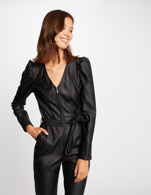 Fitted belted jumpsuit black ladies'