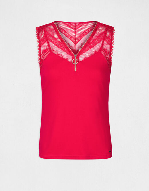Vest top with wide straps and lace raspberry ladies'