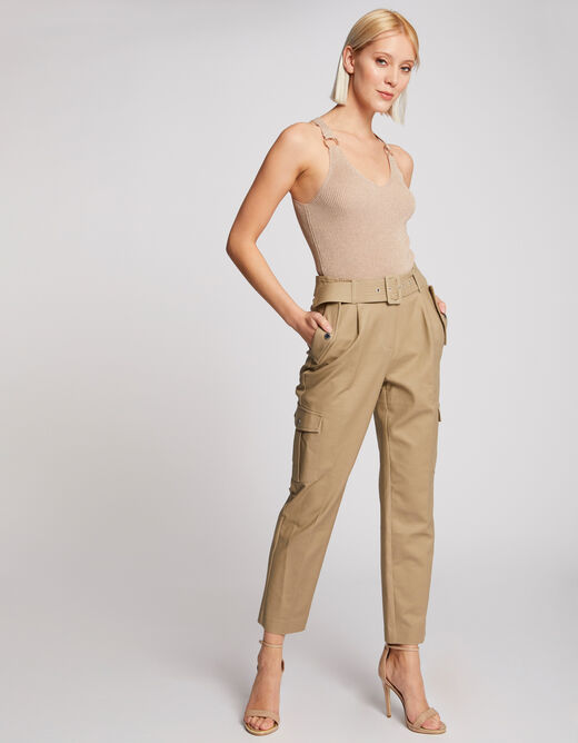 Large straps jumper with buckles sand ladies'