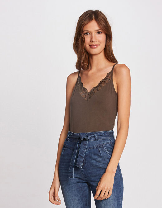 Vest top with thin straps and lace khaki ladies'