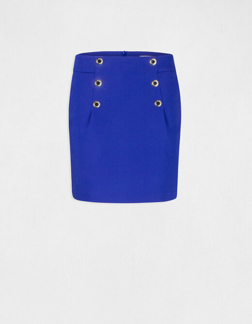 High-waisted straight skirt with buttons electric blue ladies'