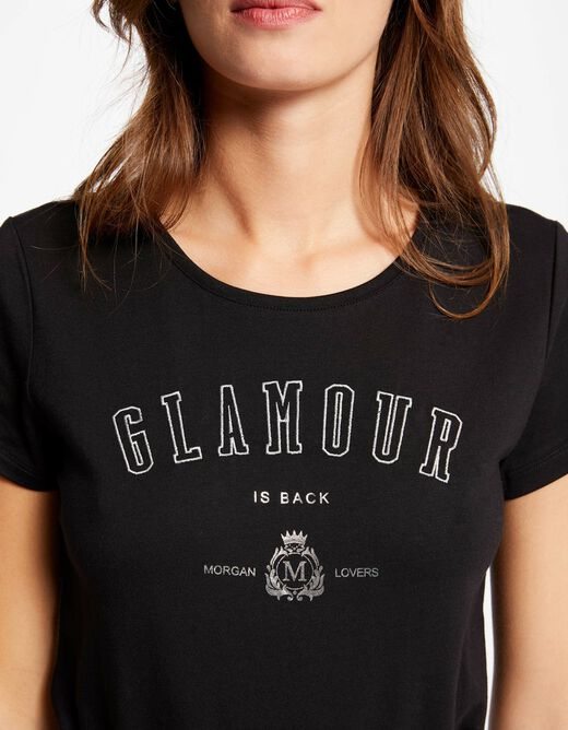 Short-sleeved t-shirt with message black ladies'