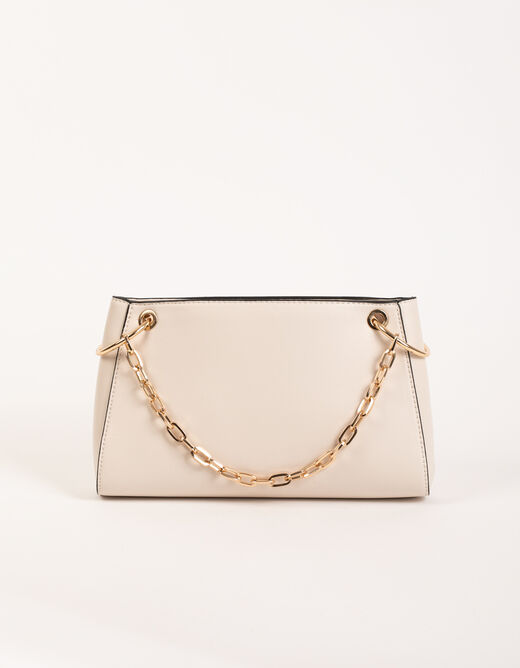 Clutch bag with chain handle beige ladies'