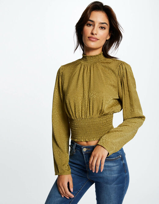 Long-sleeved blouse with open back khaki ladies'
