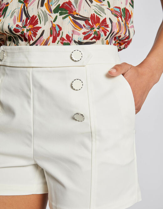 High-waisted straight buttoned shorts ecru ladies'