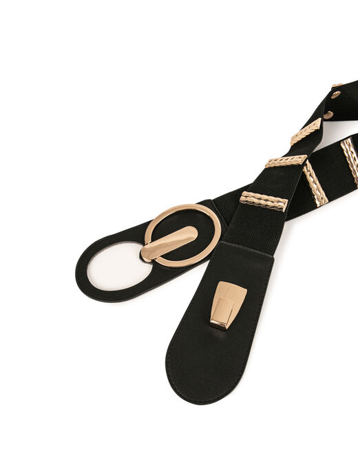 Elasticised belt with ornaments gold ladies'