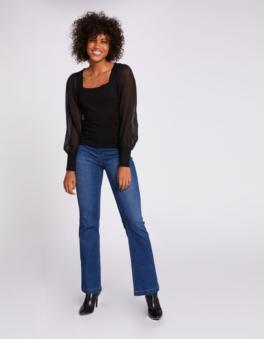 Long-sleeved jumper with dobby spot black ladies'