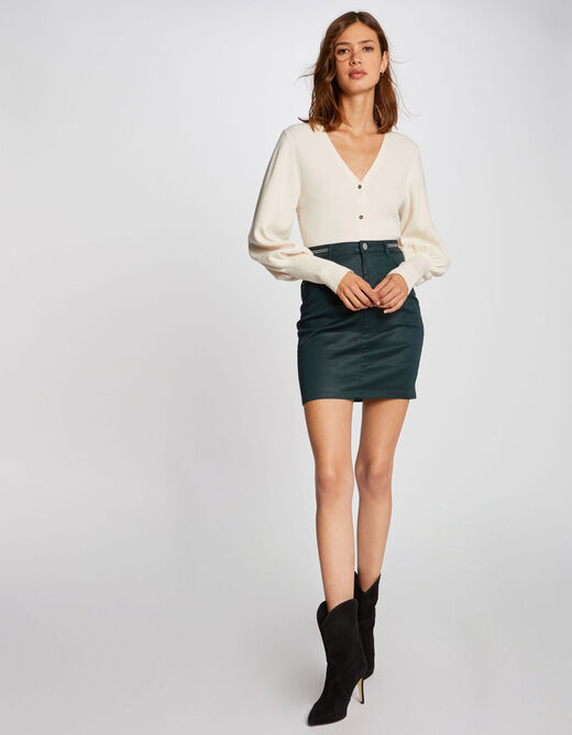 Fitted skirt with wet effect dark green ladies'