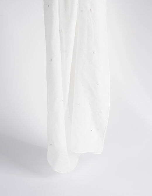 Scarf with pearl details white ladies'