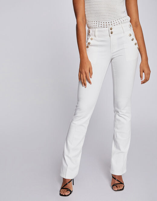 Bootcut jeans with buttons ecru ladies'