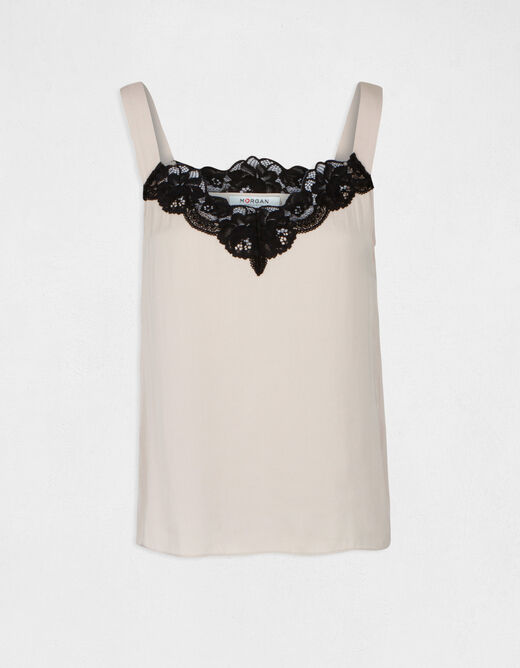 Blouse wide straps with lace beige ladies'