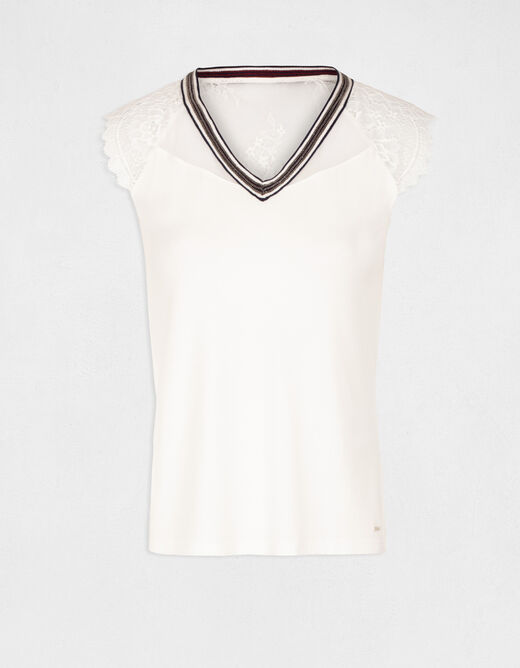 Short-sleeved t-shirt with lace details ecru ladies'