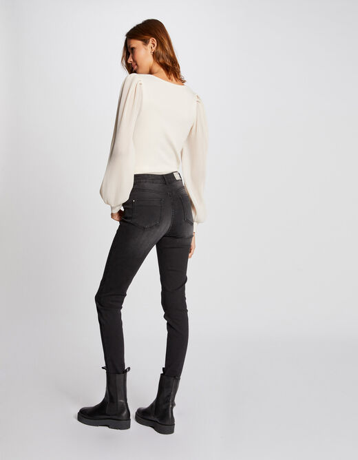 Jumper with puff long sleeves ivory ladies'