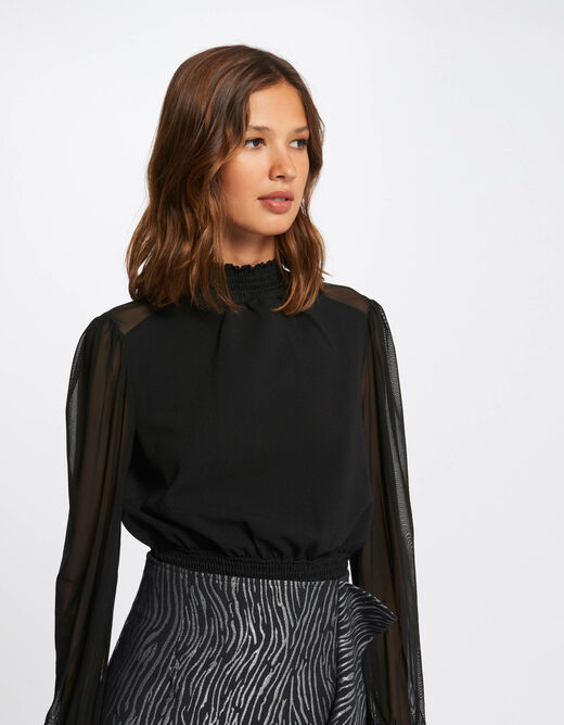 Long-sleevedt-shirt with high collar black ladies'
