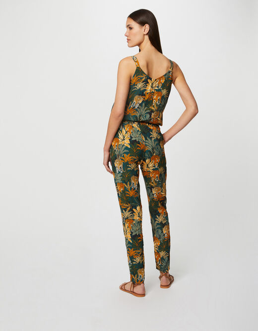 Blouse wide straps with floral vegetal multico ladies'