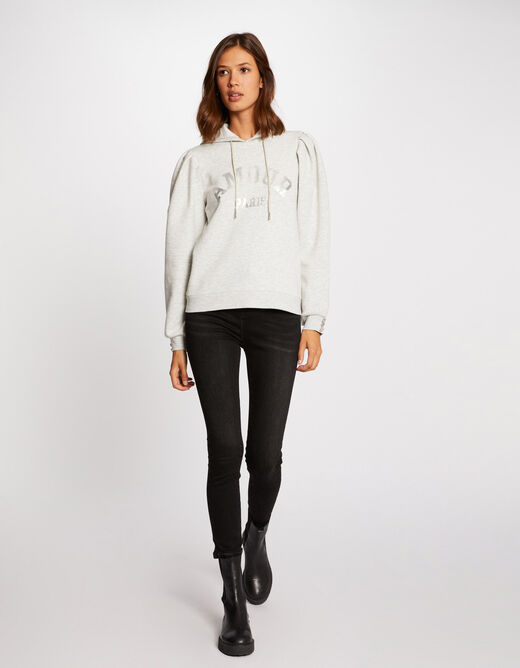 Long-sleeved sweat with hood anthracite grey ladies'