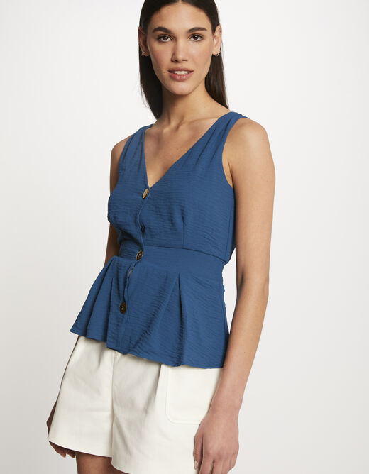 Blouse with wide straps and buttons blue ladies'