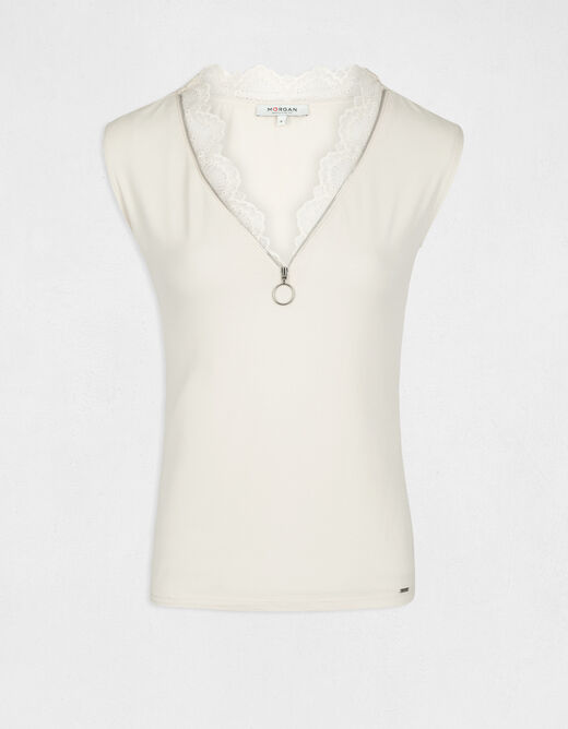 Short-sleeved t-shirt with V-neck ivory ladies'