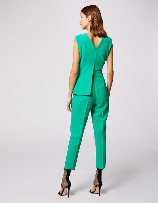 Fitted jumpsuit with wrap-over effect green ladies'