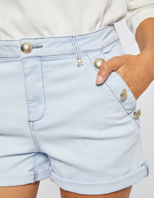 Slim denim short with buttons jean bleached ladies'