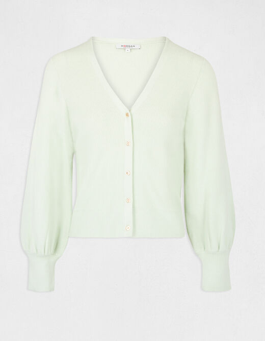 Buttoned long-sleeved cardigan light green ladies'