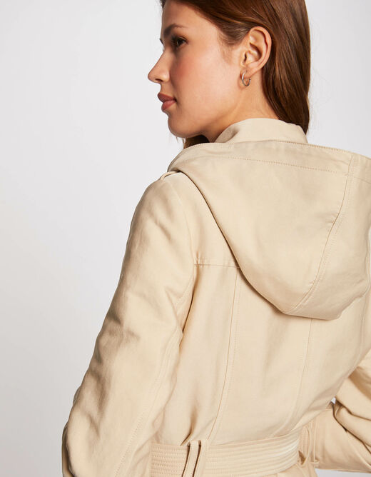 Straight buttoned trenchcoat with hood beige ladies'