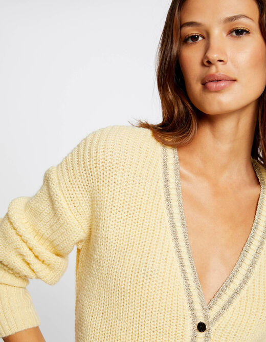 Long-sleeved cardigan with V-neck straw yellow ladies'