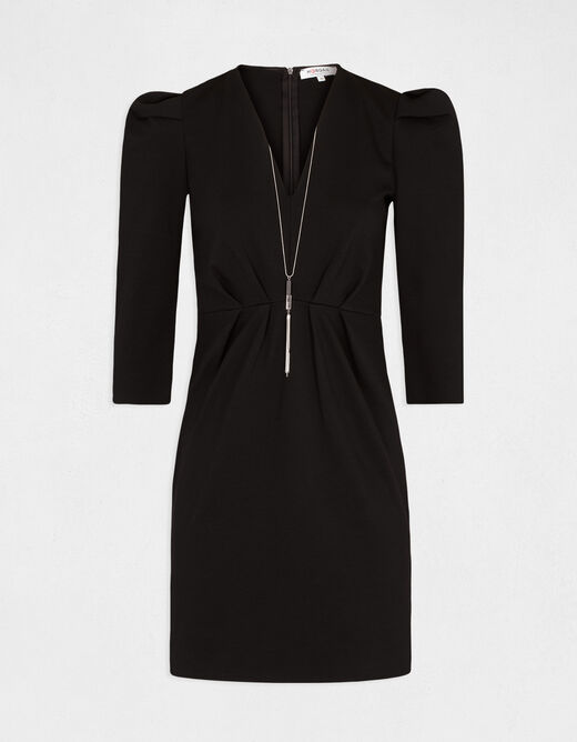 Fitted dress with jewelled detail black ladies'