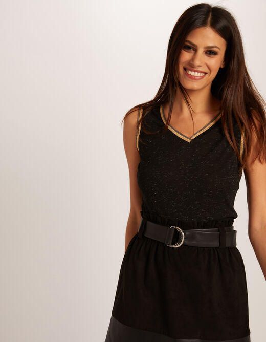 Vest top with large straps and strips black ladies'