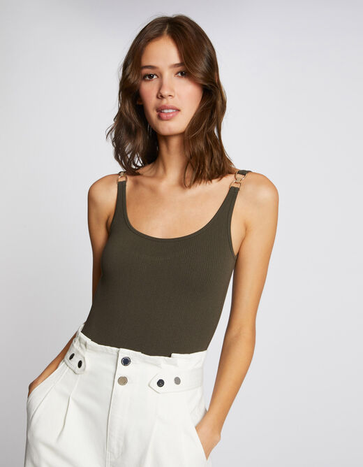 Body with wide straps and ornaments khaki ladies'