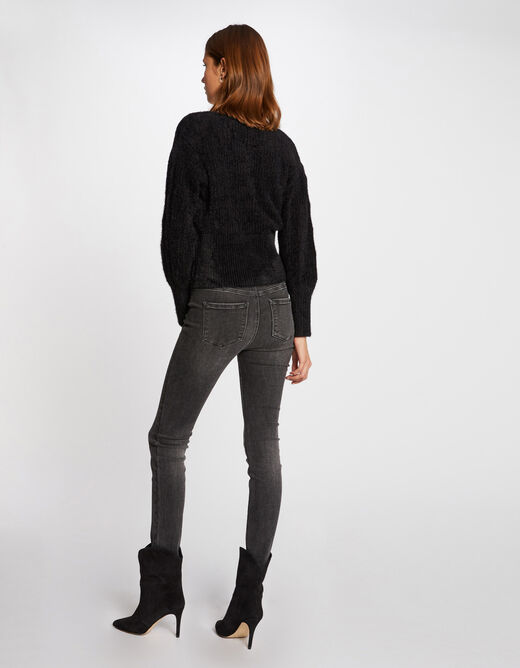 Long-sleeved cardigan with fluffy knit black ladies'