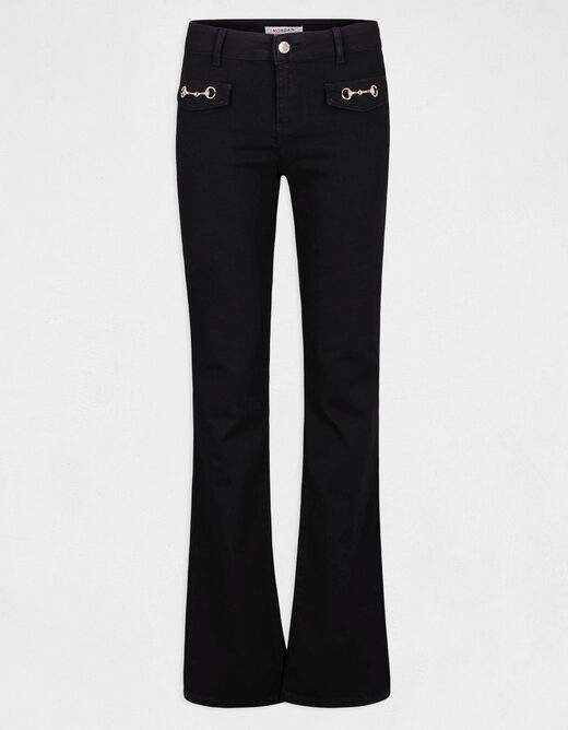 Flare jeans with metal ornaments black ladies'