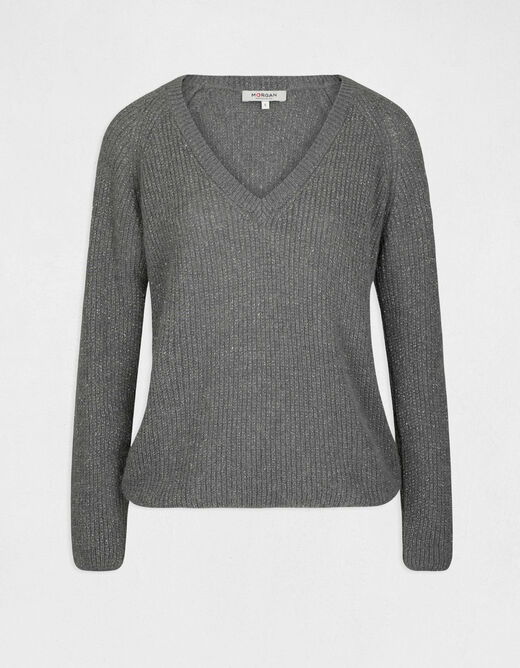 Long-sleeved jumper with V-neck mid-grey ladies'