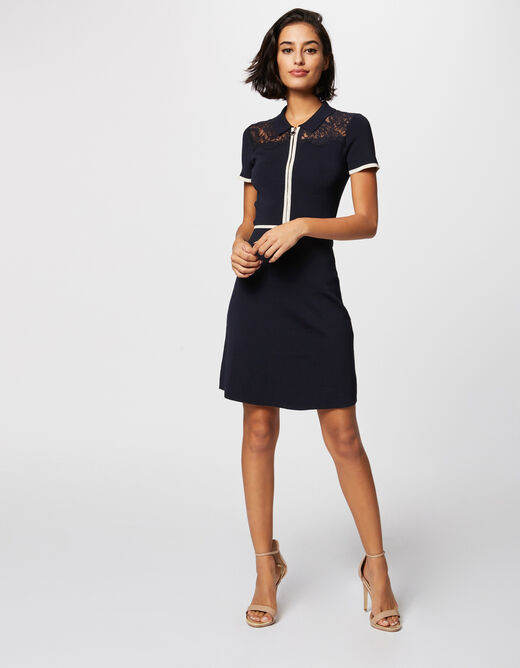 Waisted knit dress with zip navy ladies'