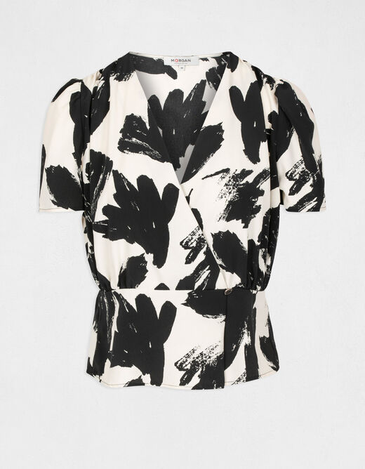 Short-sleeved blouse abstract print multico ladies'