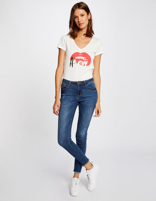 Short-sleeved t-shirt with message red ladies'