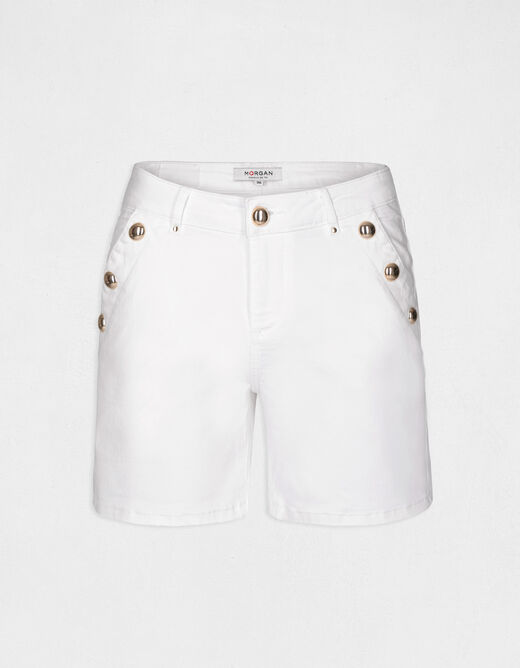 Fitted denim short with buttons ecru ladies'