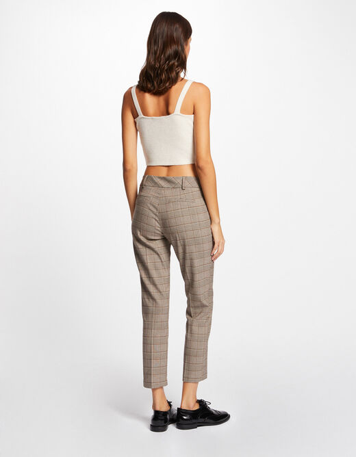 Cropped checked cigarette trousers multico ladies'